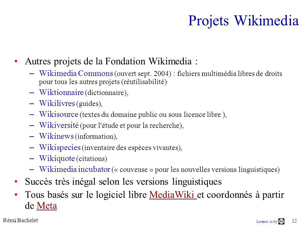 Rémi Bachelet 12 Licence cc-by Projets Wikimedia Autres projets de la Fondation Wikimedia : – Wikimedia Commons (ouvert sept. 2004) : fichiers multimé