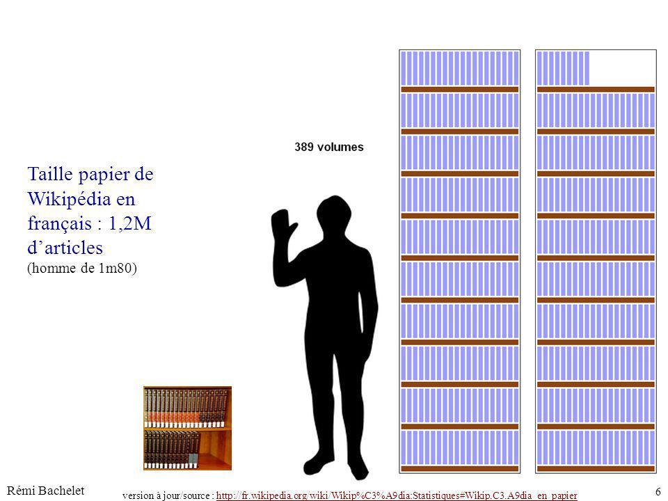 Rémi Bachelet 6 Licence cc-by juin-14 Taille papier de Wikipédia en français : 1,2M darticles (homme de 1m80) version à jour/source : http://fr.wikipe