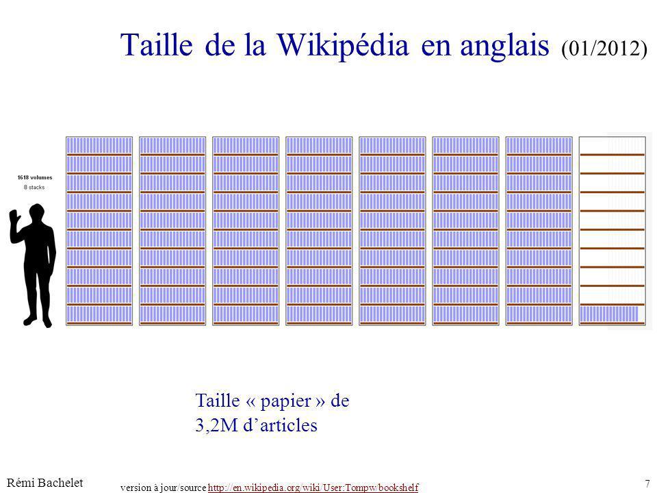 Rémi Bachelet 7 Licence cc-by Taille de la Wikipédia en anglais (01/2012) juin-14 version à jour/source http://en.wikipedia.org/wiki/User:Tompw/bookshelfhttp://en.wikipedia.org/wiki/User:Tompw/bookshelf Taille « papier » de 3,2M darticles