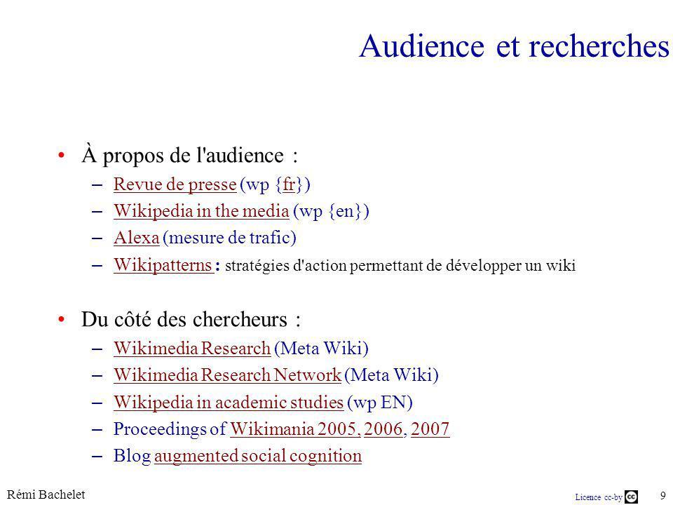 Rémi Bachelet 9 Licence cc-by Audience et recherches À propos de l audience : – Revue de presse (wp {fr}) Revue de pressefr – Wikipedia in the media (wp {en}) Wikipedia in the media – Alexa (mesure de trafic) Alexa – Wikipatterns : stratégies d action permettant de développer un wiki Wikipatterns Du côté des chercheurs : – Wikimedia Research (Meta Wiki) Wikimedia Research – Wikimedia Research Network (Meta Wiki) Wikimedia Research Network – Wikipedia in academic studies (wp EN) Wikipedia in academic studies – Proceedings of Wikimania 2005, 2006, 2007Wikimania 2005,20062007 – Blog augmented social cognitionaugmented social cognition
