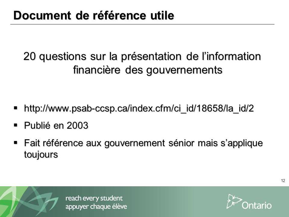 12 Document de référence utile 20 questions sur la présentation de linformation financière des gouvernements http://www.psab-ccsp.ca/index.cfm/ci_id/1
