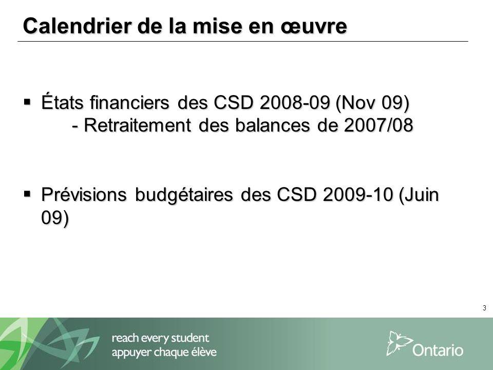 3 Calendrier de la mise en œuvre États financiers des CSD 2008-09 (Nov 09) États financiers des CSD 2008-09 (Nov 09) - Retraitement des balances de 20