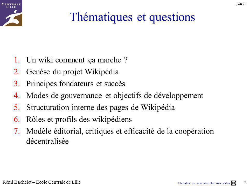 Utilisation ou copie interdites sans citation Rémi Bachelet – Ecole Centrale de Lille 3 1/ Le wiki quest-ce que cest au juste .