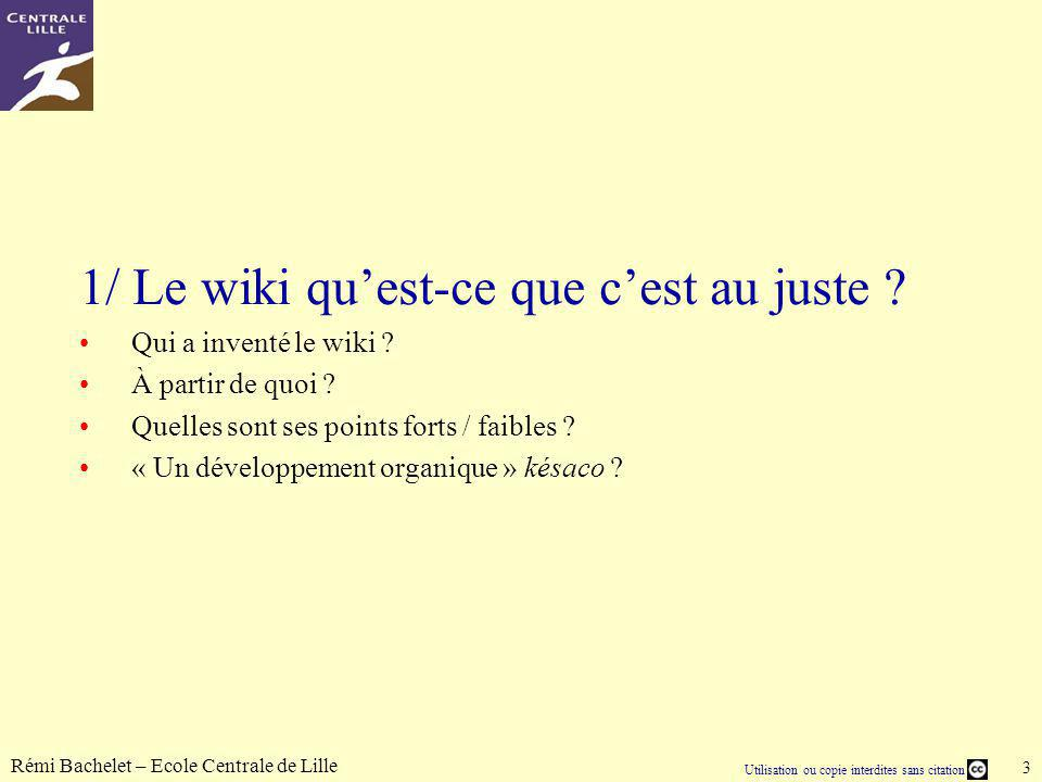 Utilisation ou copie interdites sans citation Rémi Bachelet – Ecole Centrale de Lille 24 5/ Structuration interne des pages de Wikipédia Wikipédia est-elle seulement composée darticles ou est- elle nettement plus compliquée que cela .