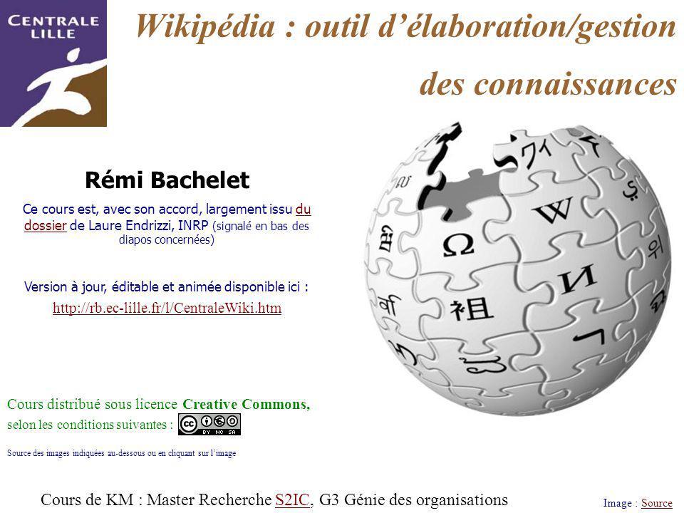Wikipédia : outil délaboration/gestion des connaissances Image : SourceSource Rémi Bachelet Ce cours est, avec son accord, largement issu du dossier d