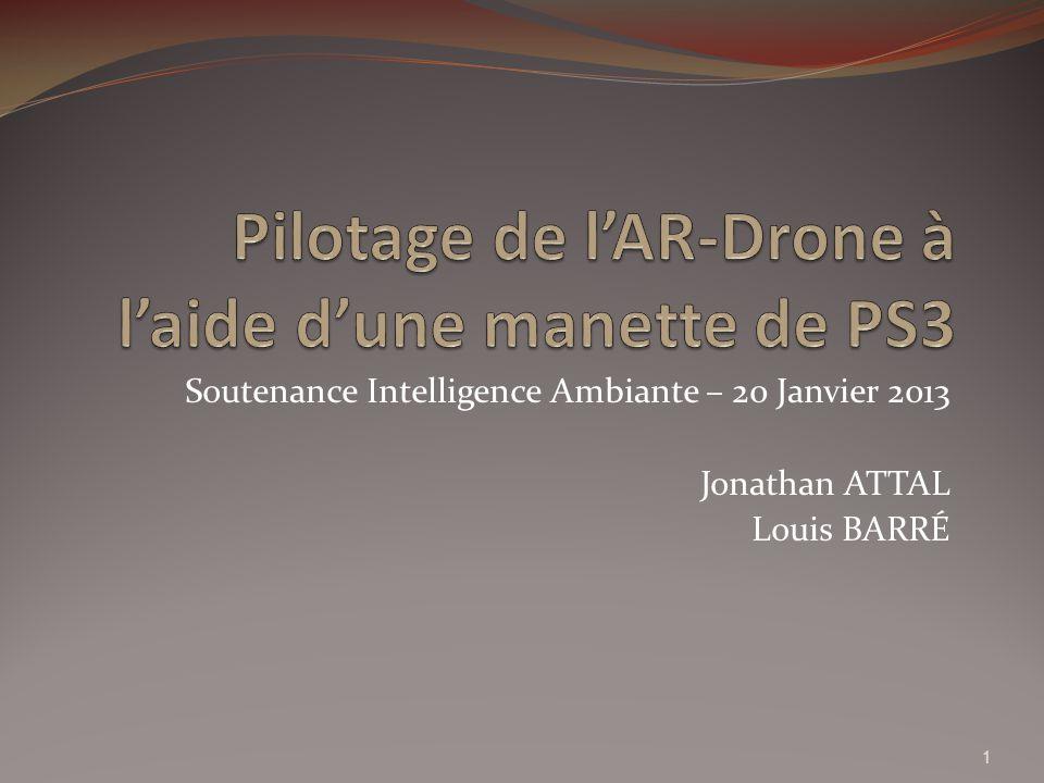 Présentation de l AR-Drone 2.0 Conçu et vendu par la société français Parrot depuis 2010 (version 1.0) Premier quadricoptère commandé grand public Version 2.0 : cameras HD, possibilité de faire des vrilles Pilotable via diverses applications pour smartphones