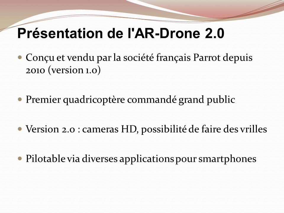 Présentation de l'AR-Drone 2.0 Conçu et vendu par la société français Parrot depuis 2010 (version 1.0) Premier quadricoptère commandé grand public Ver