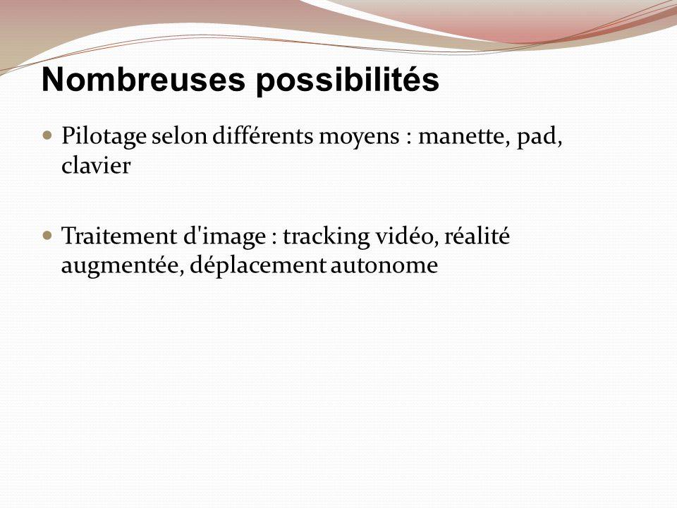 Nombreuses possibilités Pilotage selon différents moyens : manette, pad, clavier Traitement d'image : tracking vidéo, réalité augmentée, déplacement a