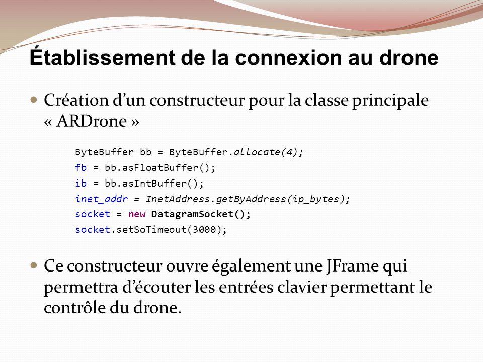 Envoi dune commande AT* void send_at_cmd(String at_cmd) throws Exception { byte[] buffer = (at_cmd + \r ).getBytes(); DatagramPacket packet = new DatagramPacket(buffer, buffer.length, inet_addr, 5556); socket.send(packet); waitms(1); } Les chaines de caractères AT permettent denvoyer des commandes au drone, comme des instructions de vol (décoller, avancer) ou des informations de configuration (régler laltitude maximale ou la vitesse)