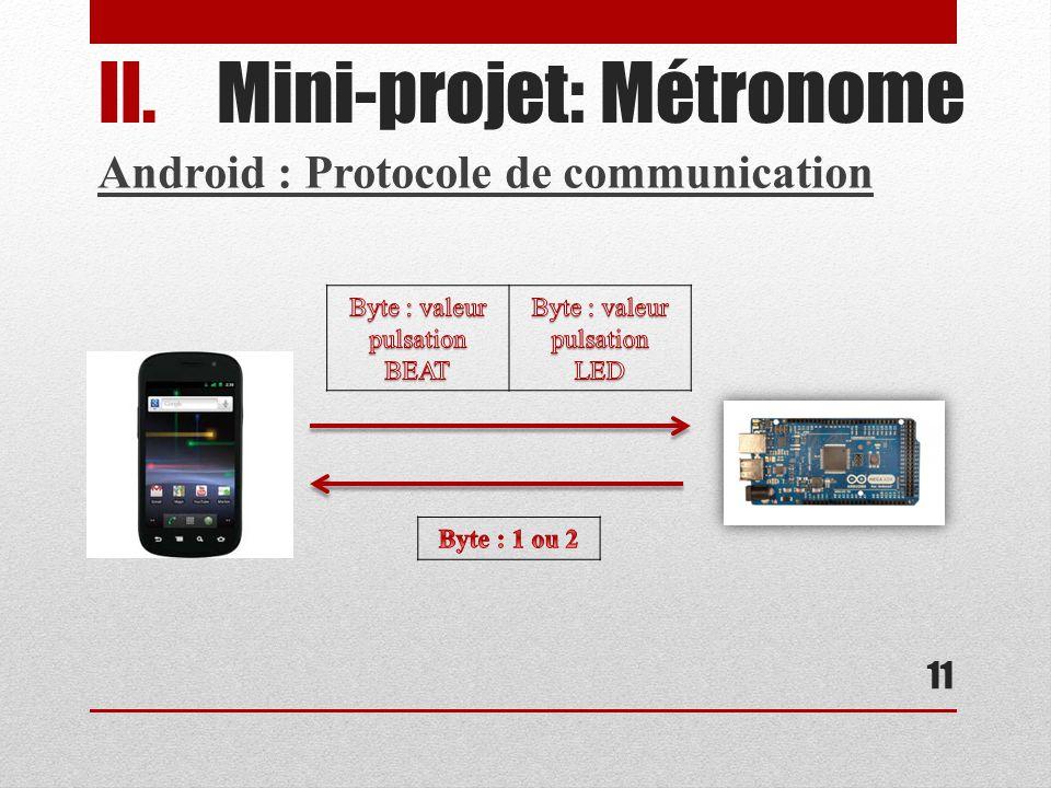 11 II.Mini-projet: Métronome Android : Protocole de communication