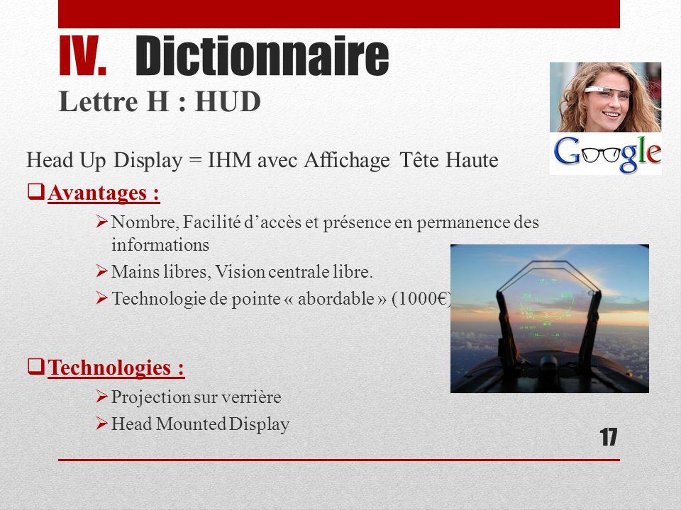 Lettre H : HUD Head Up Display = IHM avec Affichage Tête Haute Avantages : Nombre, Facilité daccès et présence en permanence des informations Mains libres, Vision centrale libre.