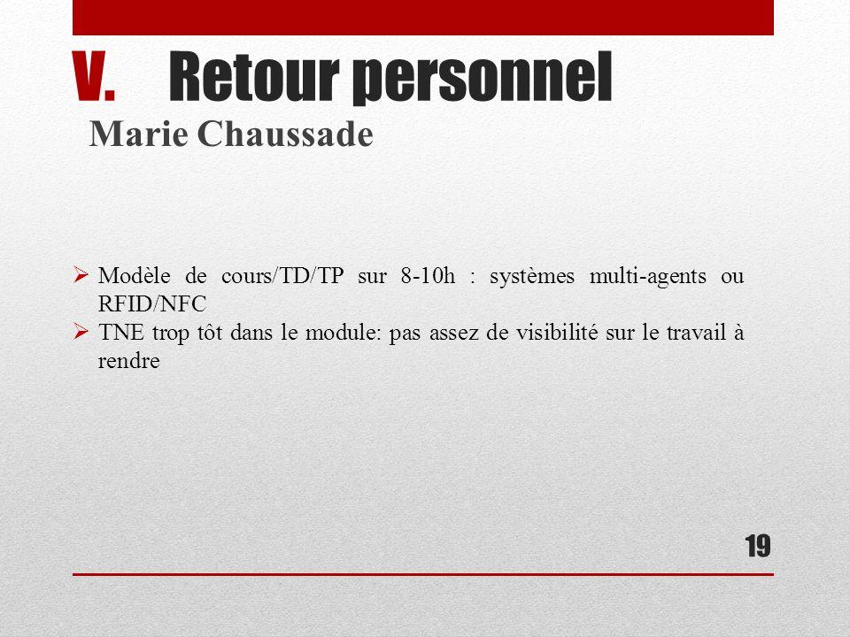 19 V.Retour personnel Marie Chaussade Modèle de cours/TD/TP sur 8-10h : systèmes multi-agents ou RFID/NFC TNE trop tôt dans le module: pas assez de visibilité sur le travail à rendre