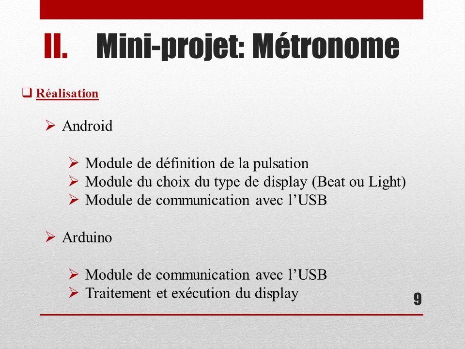 II.Mini-projet: Métronome 9 Réalisation Android Module de définition de la pulsation Module du choix du type de display (Beat ou Light) Module de communication avec lUSB Arduino Module de communication avec lUSB Traitement et exécution du display