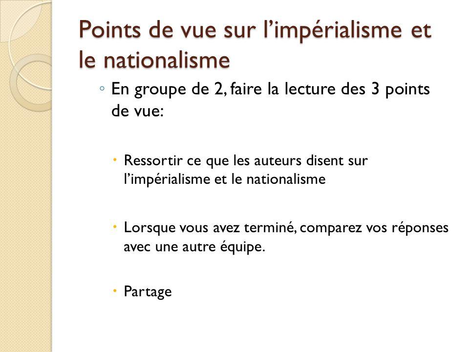 Points de vue sur limpérialisme et le nationalisme En groupe de 2, faire la lecture des 3 points de vue: Ressortir ce que les auteurs disent sur limpérialisme et le nationalisme Lorsque vous avez terminé, comparez vos réponses avec une autre équipe.