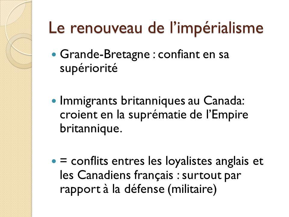 Le renouveau de limpérialisme Grande-Bretagne : confiant en sa supériorité Immigrants britanniques au Canada: croient en la suprématie de lEmpire britannique.
