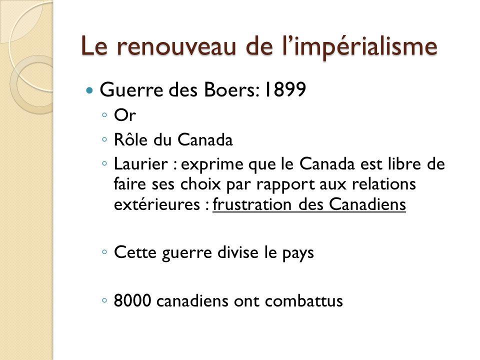 Le renouveau de limpérialisme Guerre des Boers: 1899 Or Rôle du Canada Laurier : exprime que le Canada est libre de faire ses choix par rapport aux relations extérieures : frustration des Canadiens Cette guerre divise le pays 8000 canadiens ont combattus