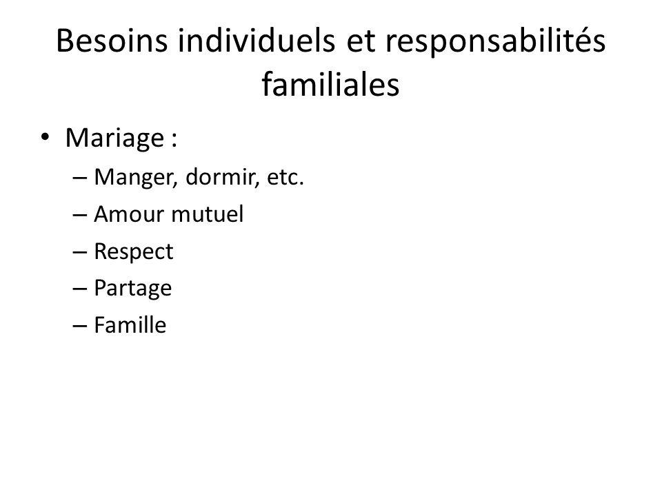 Besoins individuels et responsabilités familiales Mariage : – Manger, dormir, etc.