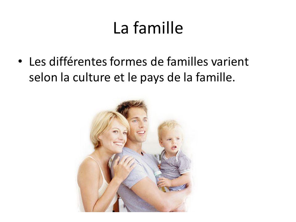 La famille Les différentes formes de familles varient selon la culture et le pays de la famille.