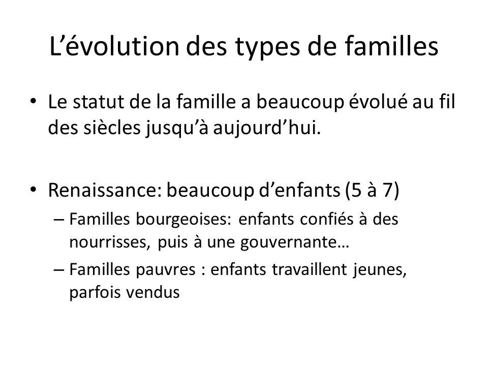 Lévolution des types de familles Le statut de la famille a beaucoup évolué au fil des siècles jusquà aujourdhui.