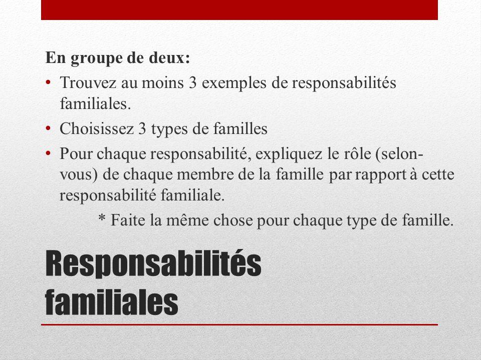 Responsabilités familiales En groupe de deux: Trouvez au moins 3 exemples de responsabilités familiales. Choisissez 3 types de familles Pour chaque re