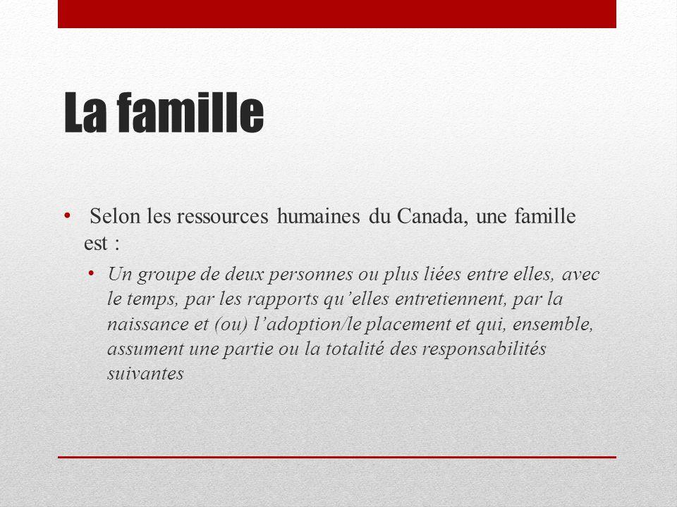 La famille Selon les ressources humaines du Canada, une famille est : Un groupe de deux personnes ou plus liées entre elles, avec le temps, par les rapports quelles entretiennent, par la naissance et (ou) ladoption/le placement et qui, ensemble, assument une partie ou la totalité des responsabilités suivantes