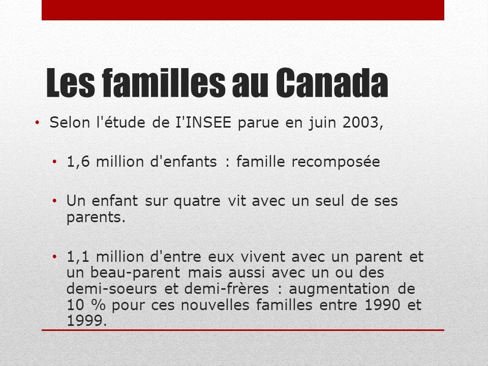Les familles au Canada Selon l'étude de I'INSEE parue en juin 2003, 1,6 million d'enfants : famille recomposée Un enfant sur quatre vit avec un seul d