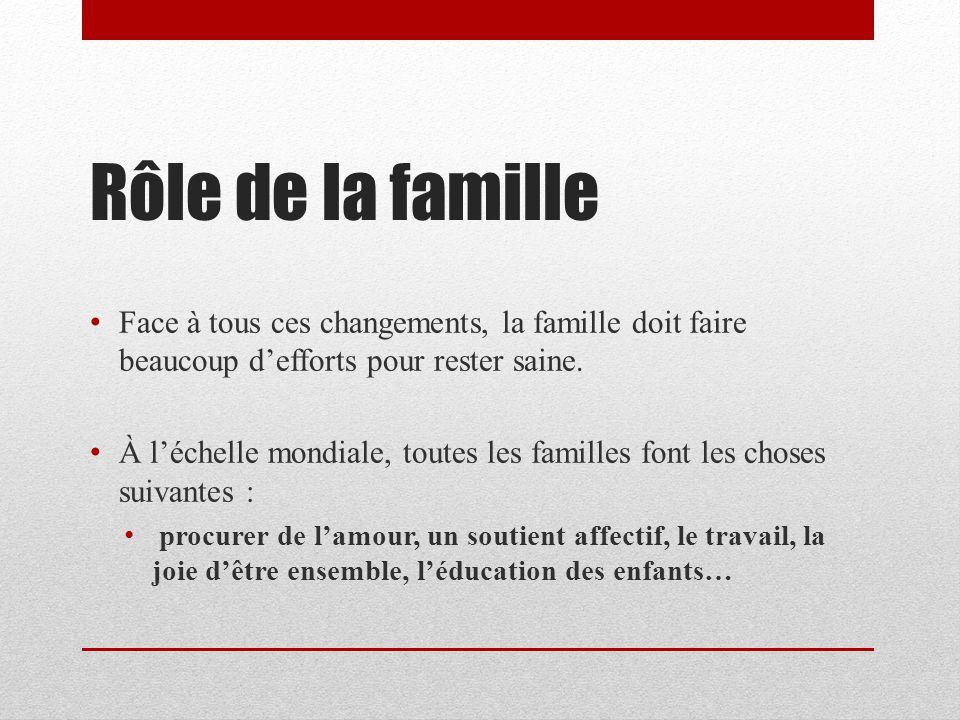 Rôle de la famille Face à tous ces changements, la famille doit faire beaucoup defforts pour rester saine. À léchelle mondiale, toutes les familles fo