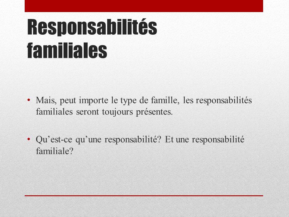 Responsabilités familiales Mais, peut importe le type de famille, les responsabilités familiales seront toujours présentes. Quest-ce quune responsabil