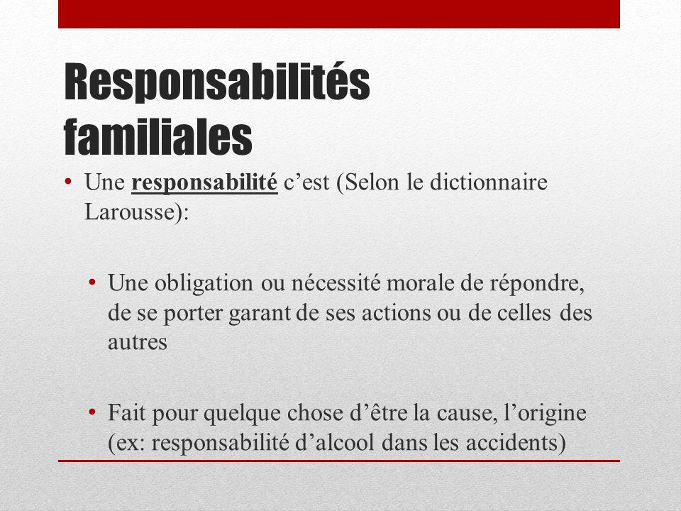 Responsabilités familiales Une responsabilité cest (Selon le dictionnaire Larousse): Une obligation ou nécessité morale de répondre, de se porter gara