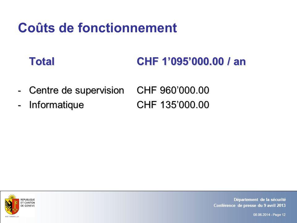 08.06.2014 - Page 12 Conférence de presse du 9 avril 2013 Département de la sécurité Coûts de fonctionnement TotalCHF 1095000.00 / an - Centre de supe