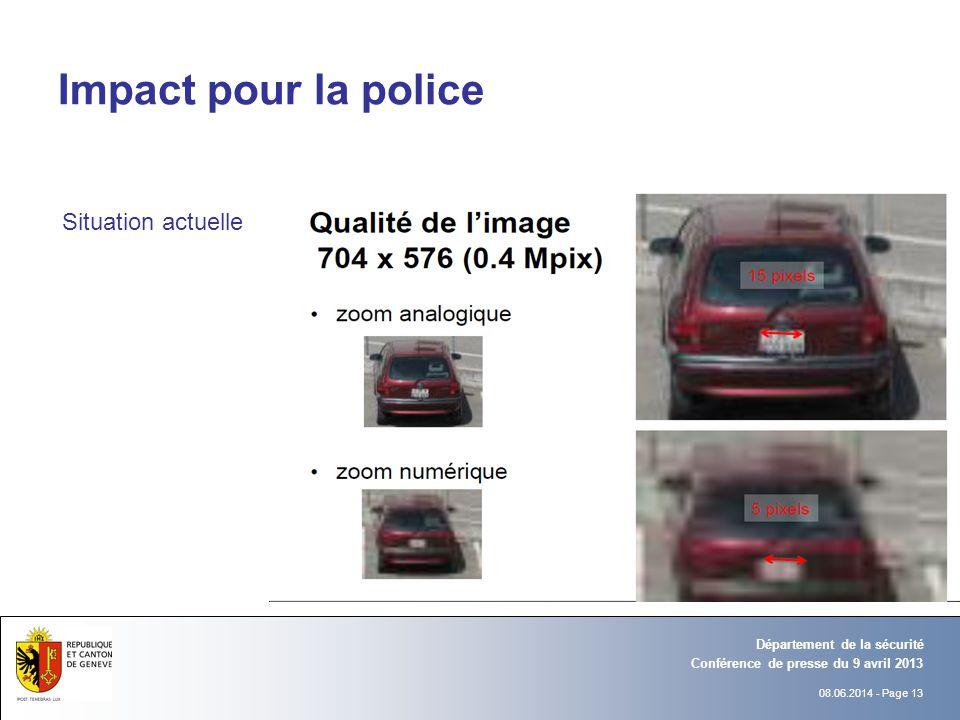 08.06.2014 - Page 13 Conférence de presse du 9 avril 2013 Département de la sécurité Impact pour la police Situation actuelle