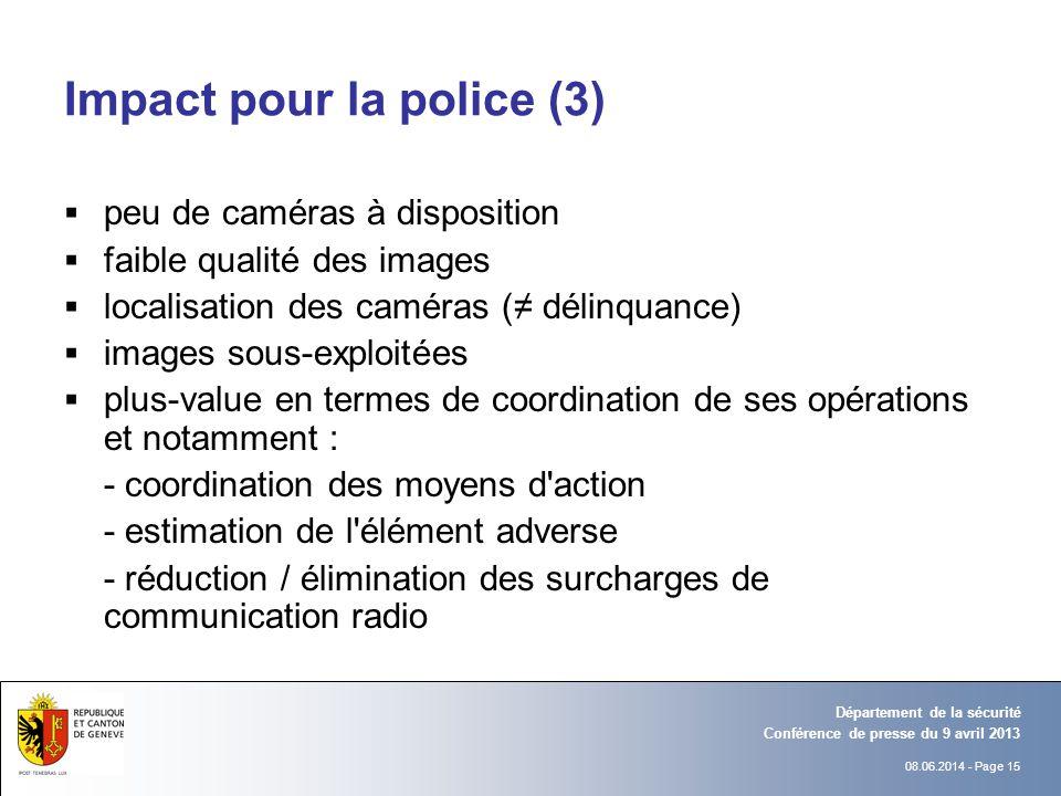 08.06.2014 - Page 15 Conférence de presse du 9 avril 2013 Département de la sécurité Impact pour la police (3) peu de caméras à disposition faible qua