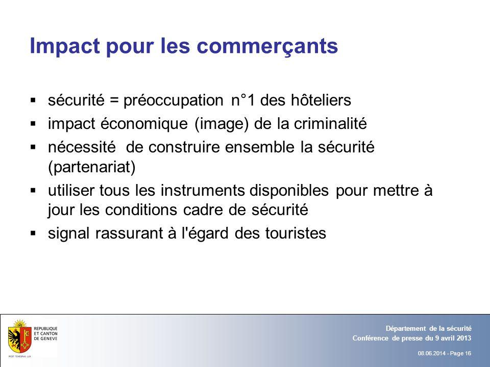 08.06.2014 - Page 16 Conférence de presse du 9 avril 2013 Département de la sécurité Impact pour les commerçants sécurité = préoccupation n°1 des hôte