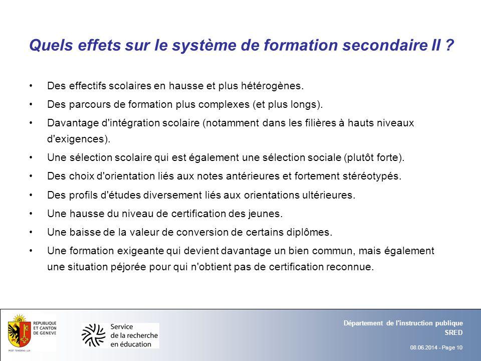 08.06.2014 - Page 10 SRED Département de l instruction publique Quels effets sur le système de formation secondaire II .