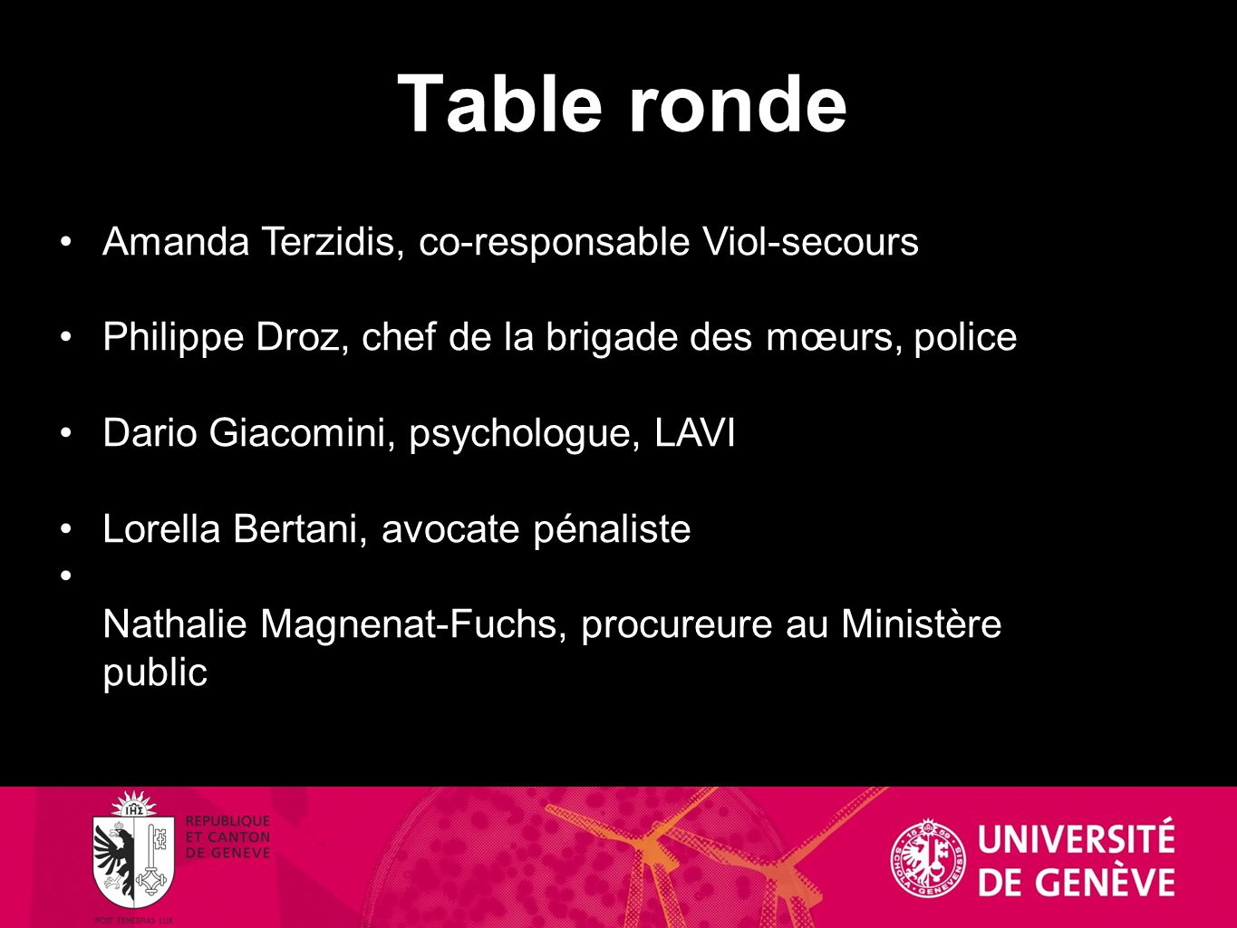 Table ronde Amanda Terzidis, co-responsable Viol-secours Philippe Droz, chef de la brigade des mœurs, police Dario Giacomini, psychologue, LAVI Lorell