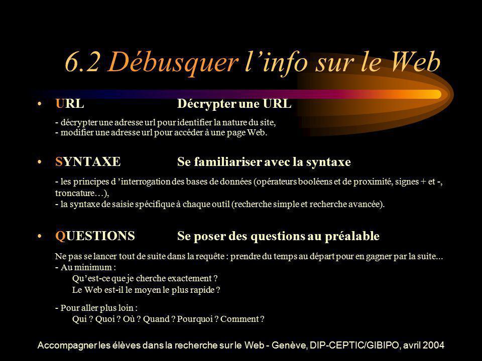 Accompagner les élèves dans la recherche sur le Web - Genève, DIP-CEPTIC/GIBIPO, avril 2004 6.2 Débusquer linfo sur le Web URLDécrypter une URL - décr