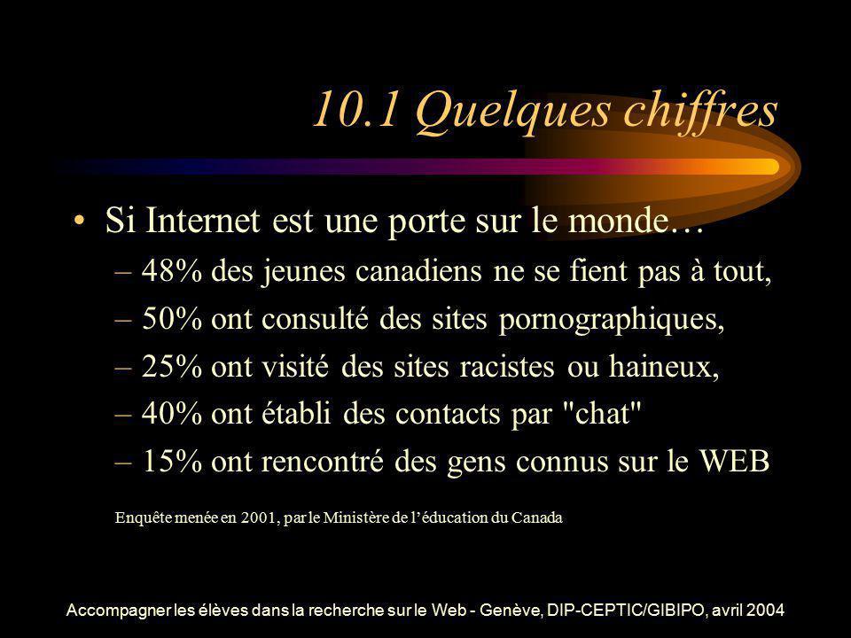 Accompagner les élèves dans la recherche sur le Web - Genève, DIP-CEPTIC/GIBIPO, avril 2004 10.1 Quelques chiffres Si Internet est une porte sur le mo