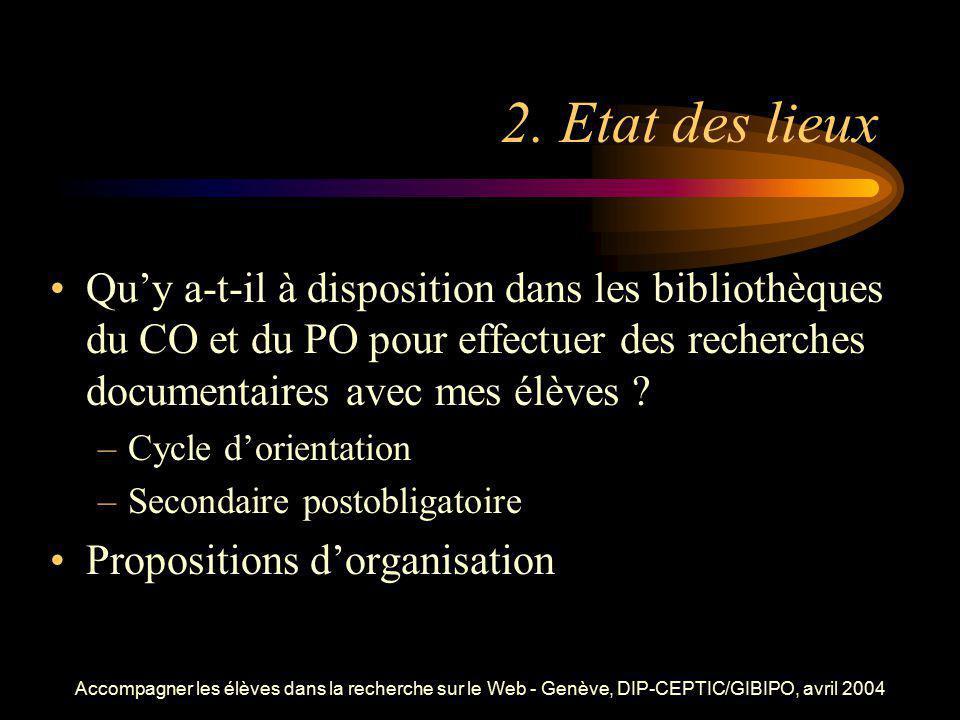 Accompagner les élèves dans la recherche sur le Web - Genève, DIP-CEPTIC/GIBIPO, avril 2004 2. Etat des lieux Quy a-t-il à disposition dans les biblio