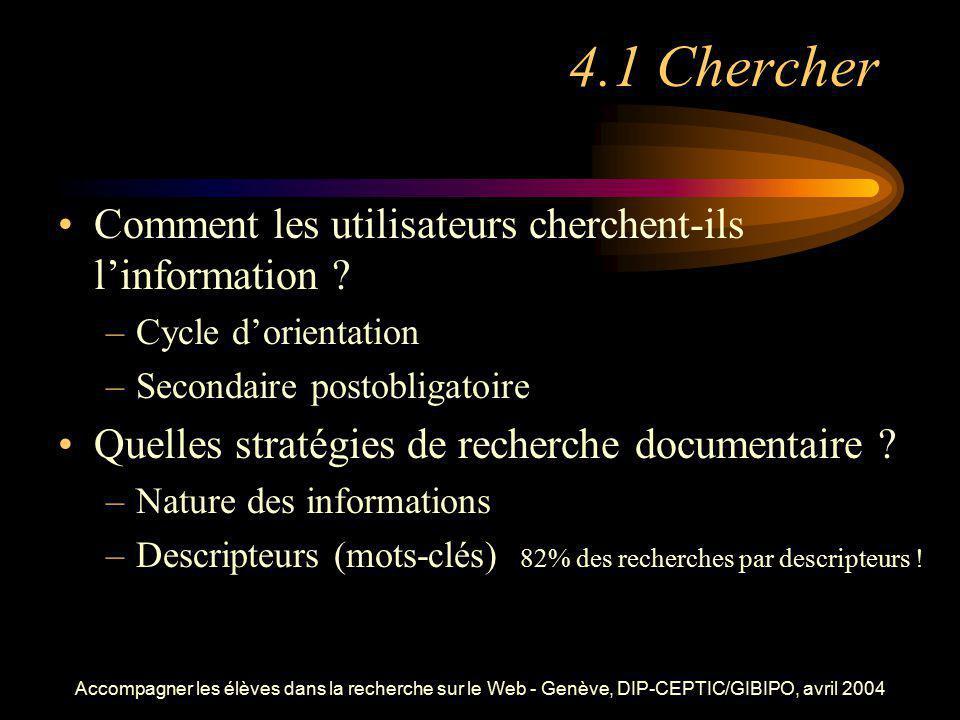 Accompagner les élèves dans la recherche sur le Web - Genève, DIP-CEPTIC/GIBIPO, avril 2004 4.1 Chercher Comment les utilisateurs cherchent-ils linfor