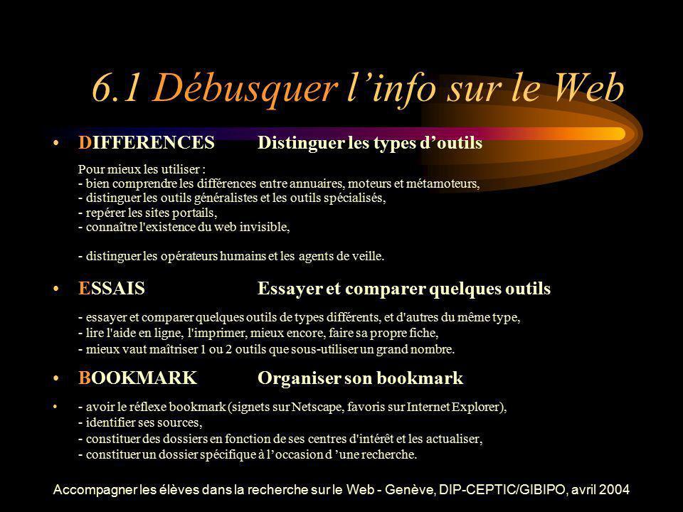 Accompagner les élèves dans la recherche sur le Web - Genève, DIP-CEPTIC/GIBIPO, avril 2004 6.1 Débusquer linfo sur le Web DIFFERENCESDistinguer les t