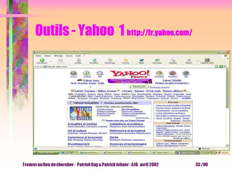 Trouver au lieu de chercher - Patrick Gay & Patrick Johner - AID avril 2002 34 /90 Outils - essayer J aimerais de la documentation sur les bibliothèqu