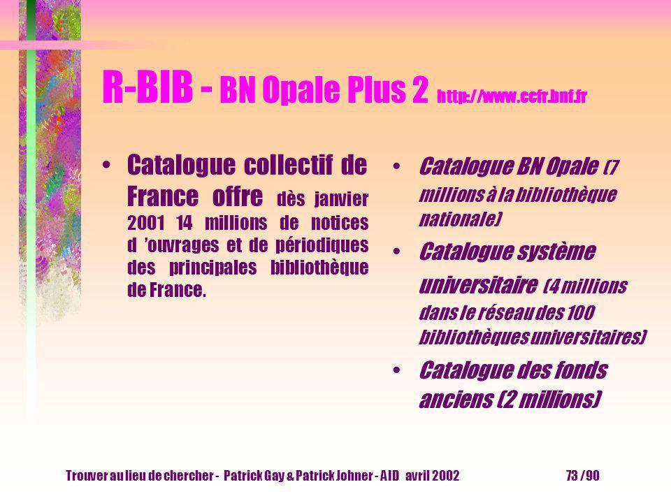Trouver au lieu de chercher - Patrick Gay & Patrick Johner - AID avril 2002 72 /90 R-BIB - BN Opale Plus 1 http://www.ccfr.bnf.fr