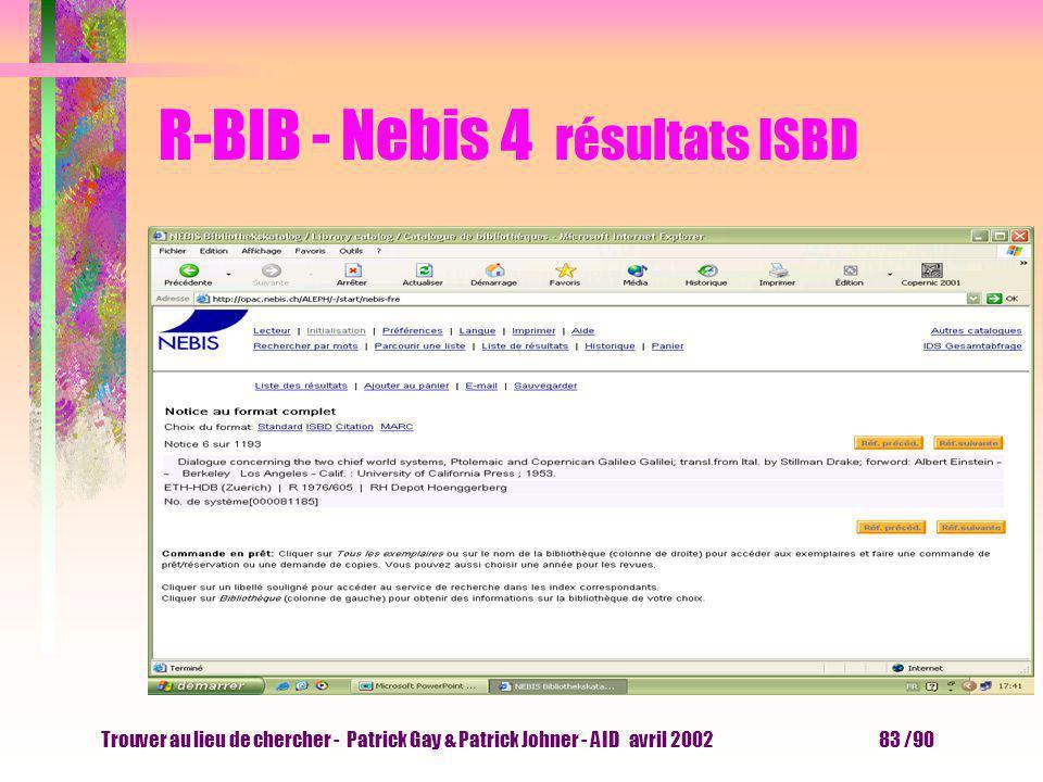 Trouver au lieu de chercher - Patrick Gay & Patrick Johner - AID avril 2002 82 /90 R-BIB - Nebis 3 résultats standard