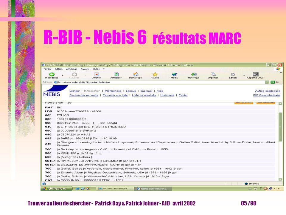 Trouver au lieu de chercher - Patrick Gay & Patrick Johner - AID avril 2002 84 /90 R-BIB - Nebis 5 résultats citation