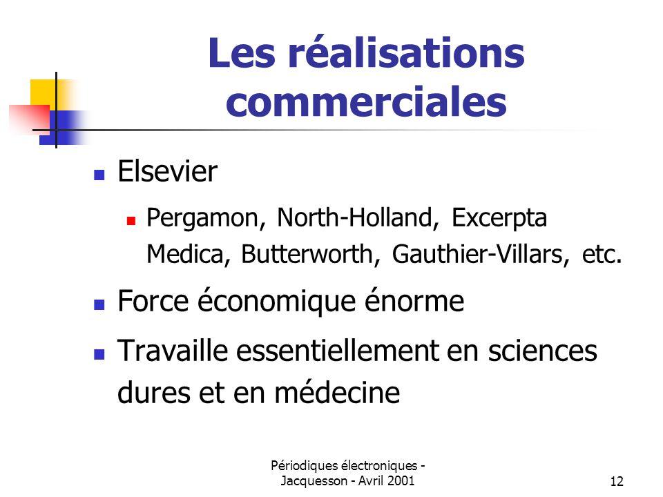Périodiques électroniques - Jacquesson - Avril 200112 Les réalisations commerciales Elsevier Pergamon, North-Holland, Excerpta Medica, Butterworth, Gauthier-Villars, etc.