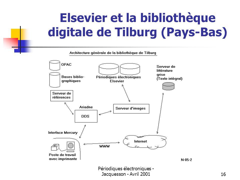 Périodiques électroniques - Jacquesson - Avril 200116 Elsevier et la bibliothèque digitale de Tilburg (Pays-Bas)