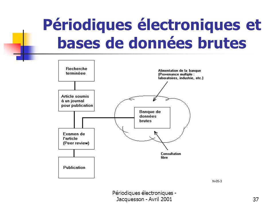 Périodiques électroniques - Jacquesson - Avril 200137 Périodiques électroniques et bases de données brutes