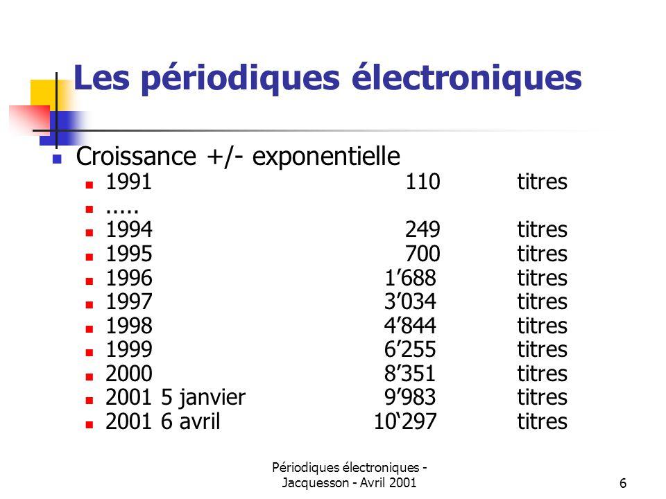 Périodiques électroniques - Jacquesson - Avril 20016 Les périodiques électroniques Croissance +/- exponentielle 1991 110titres.....