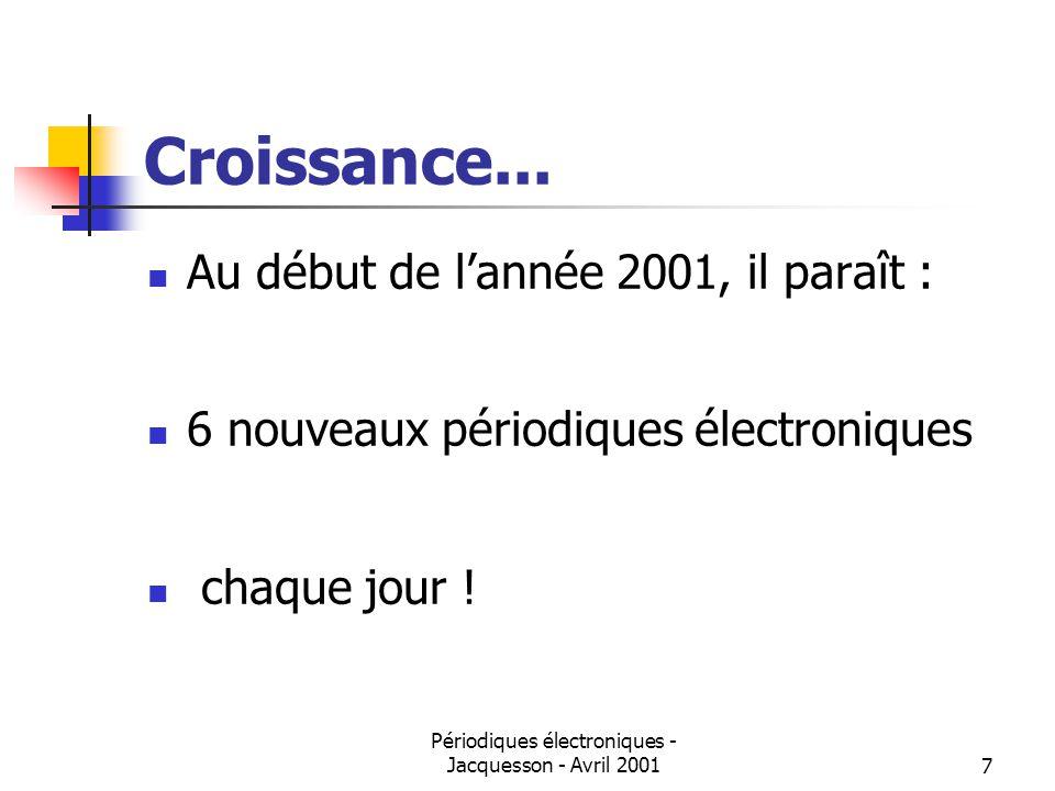 Périodiques électroniques - Jacquesson - Avril 20017 Croissance...