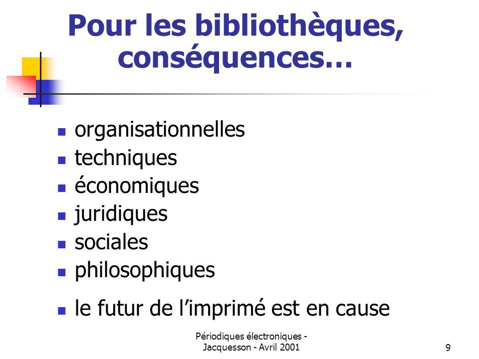Périodiques électroniques - Jacquesson - Avril 20019 Pour les bibliothèques, conséquences… organisationnelles techniques économiques juridiques sociales philosophiques le futur de limprimé est en cause